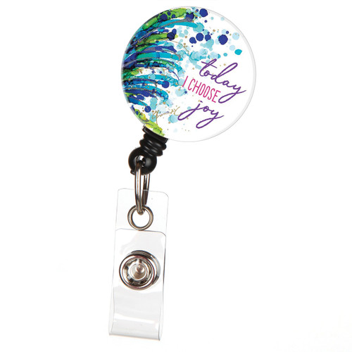Today I Choose Joy Retractable Button Top ID Badge Reel