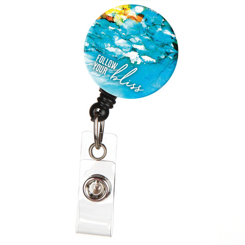 Follow Your Bliss Retractable Button Top ID Badge Reel