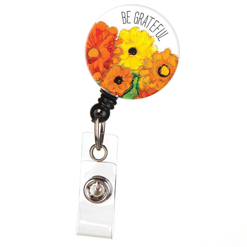 Be Grateful Floral Retractable ID Badge Reel