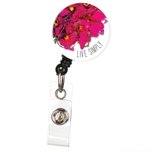 Live Simply Floral Retractable Button Top ID Badge Reel