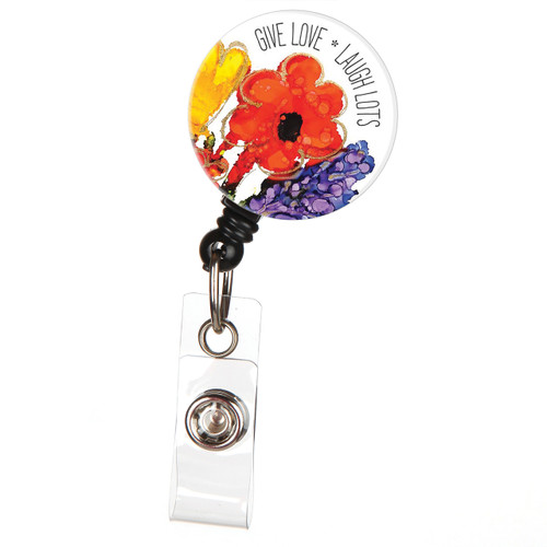 Give Love Laugh Lots Lovitude Retractable ID Badge Reel