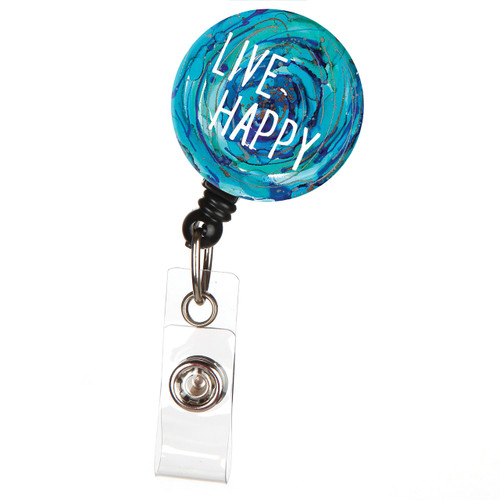 Live Happy Retractable Button Top ID Badge Reel