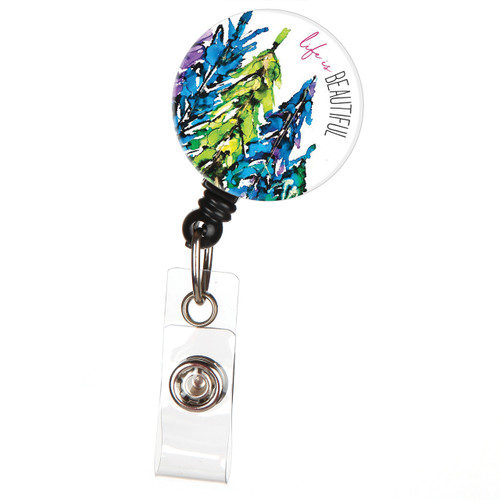 Life is Beautiful Retractable ID Badge Reel with Trees
