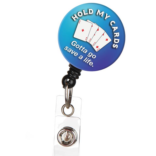 Hold My Cards Nurse Retractable Button Top ID Badge Reel