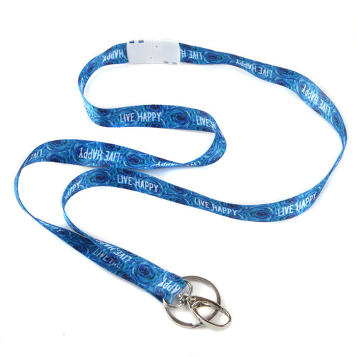 Live Happy Ribbon Lanyard with Hook, Keyring and Breakaway Clasp