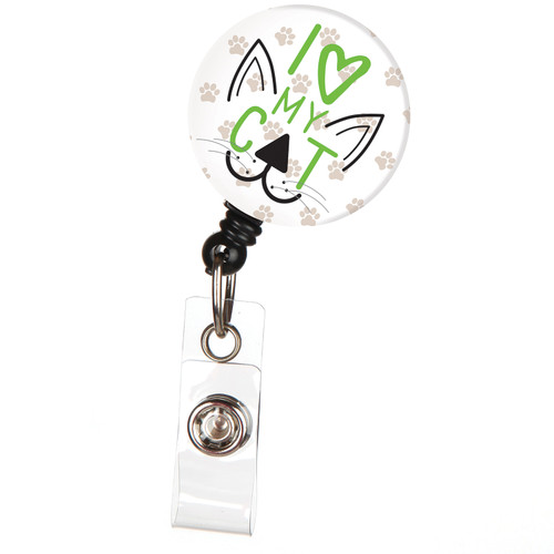 I Love My Cat Cute Animal Badge Reel