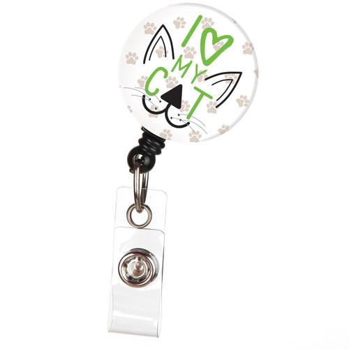 I Love My Cat Cute Animal Badge Reel