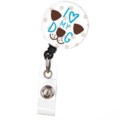 I Love My Dog Animal ID Badge Reel