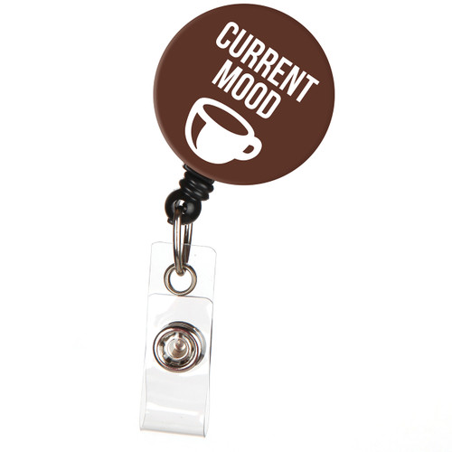 Current Mood Coffee Lovers Retractable Badge Reel ID Name Badge Holder
