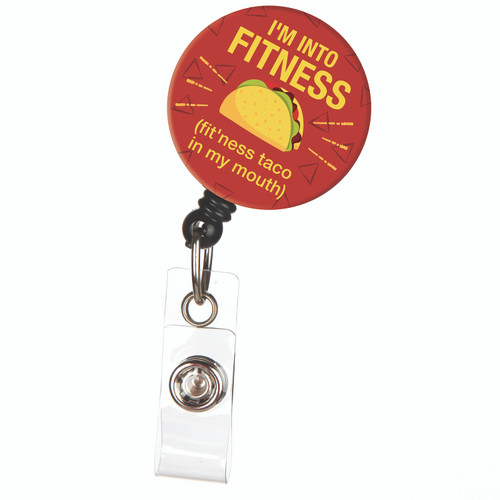 Fitness Taco Food ID Badge Reel