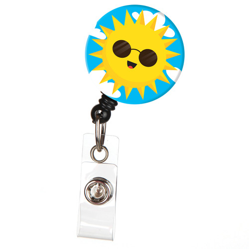 Color Me Sunshine Smiling Sun Retractable Badge Reel ID Name Badge Holder