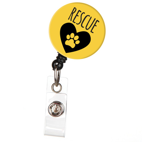 Animal Rescue Pet Paw Retractable Badge Reel ID Name Badge Holder