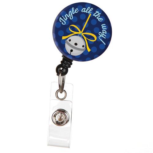 Jingle All the Way Holiday Christmas Retractable Badge Reel - ID Badge Holder
