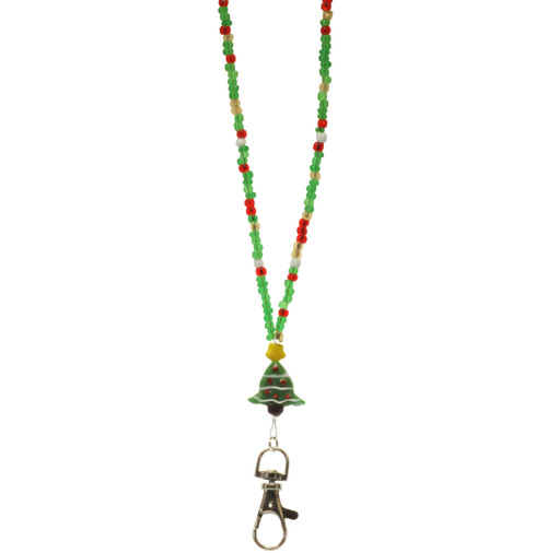 Garland beaded lanyard with red, green and yellow beads, christmas tree glass bead