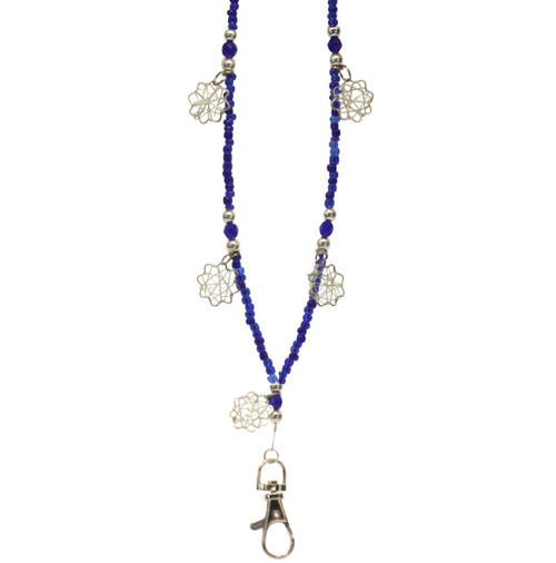 Blue beaded lanyard with silver snowflake embellishments