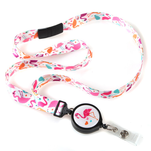 ID Avenue Tropical Flamingo Bird Pattern Ribbon Lanyard with Retractable Badge Reel