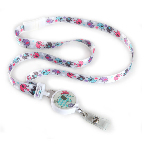 Cute Elephant Print Ribbon Lanyard with Retractable Badge Reel