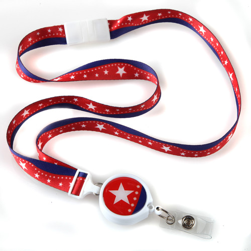Patriotic Stars Ribbon Lanyard with Retractable Badge Reel
