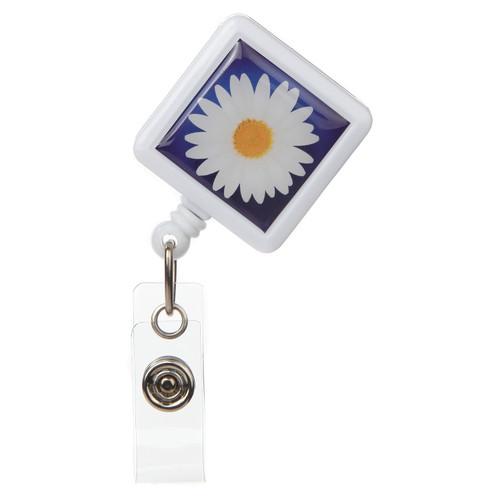 Daisy Flower Retractable Badge Reel - ID Name Badge Holder