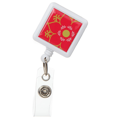 Linden Floral Design Retractable Badge Reel - ID Name Badge Holder
