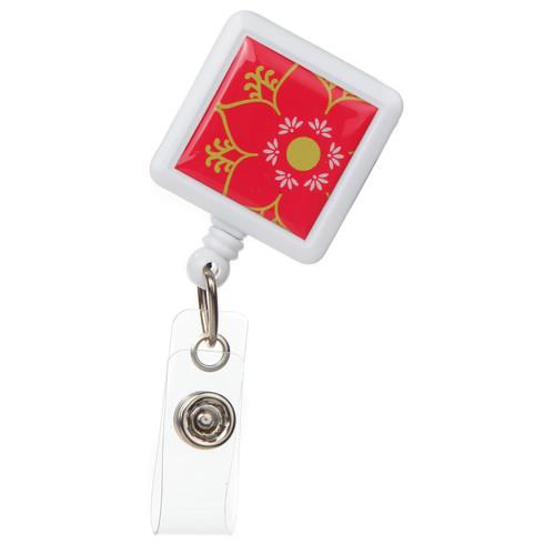 Linden Floral Design Retractable Badge Reel - ID Name Badge Holder