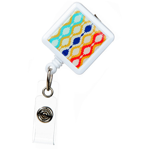 Moroccan Design Retractable Badge Reel - ID Name Badge Holder
