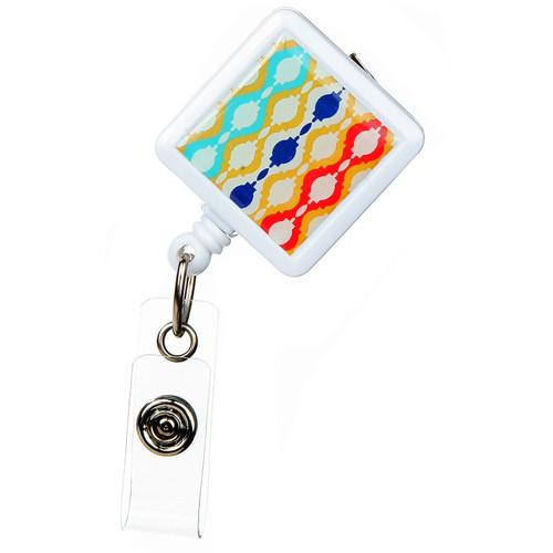 Moroccan Design Retractable Badge Reel - ID Name Badge Holder
