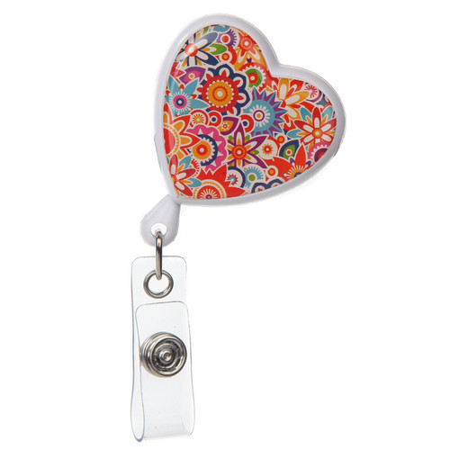 Flower Power Heart Shaped Floral ID Badge Reel