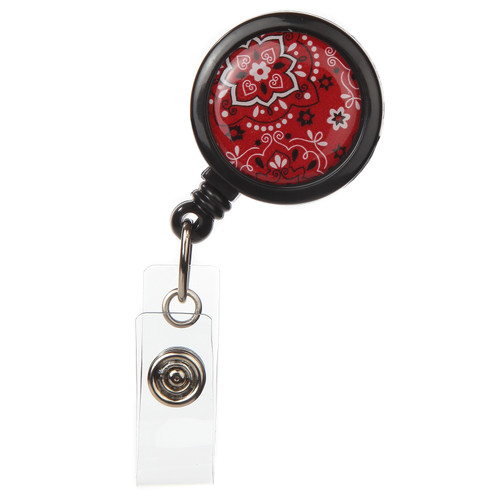 Dale Red Bandanna Retractable Badge Reel - ID Name Badge Holder