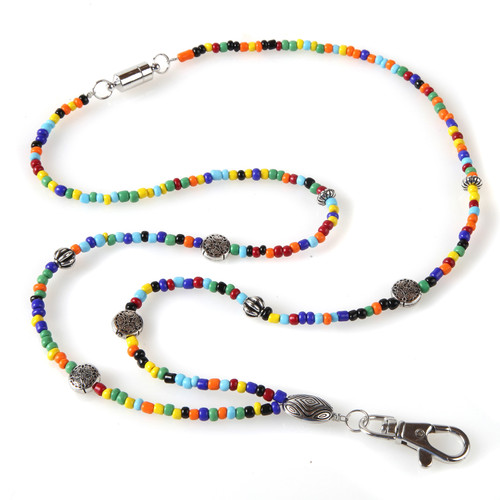 Janis Colorful Beaded Lanyard ID Badge Holder Necklace