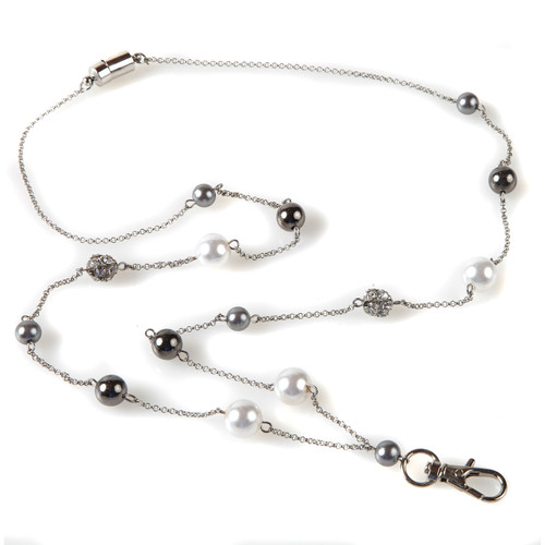 Pearly Silver Chain Lanyard ID Badge Holder Necklace