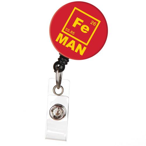 Iron (Fe) Man Retractable Badge Reel - Geeky Saying