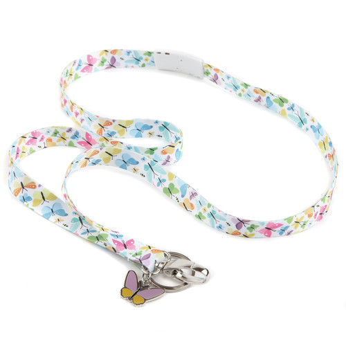 Flutter By Ribbon Lanyard with Butterfly Charm and Key Ring