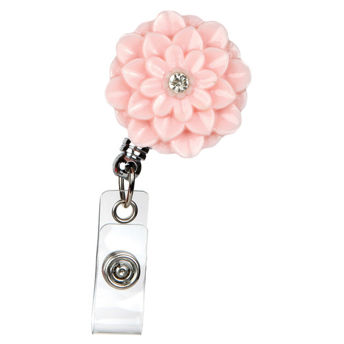 Zinnia Flower Retractable Badge Reel