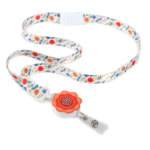 Peonies Flower Ribbon Lanyard with matching floral embellishment