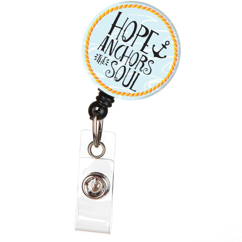 Hope Anchors the Soul Inspirational Verse Retractable Badge Reel