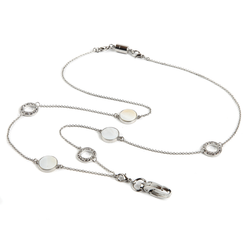 BooJee Beads Sweet Pearl Reversible Silver Chain ID Fashion Necklace Lanyard