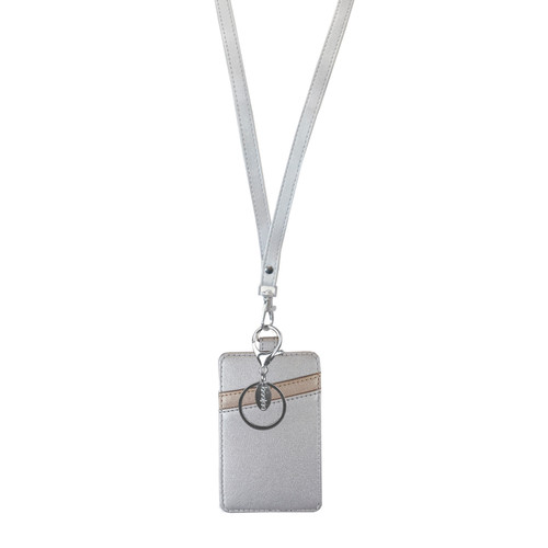 Glacier ID Wallet Lanyard in silver with bronze accents