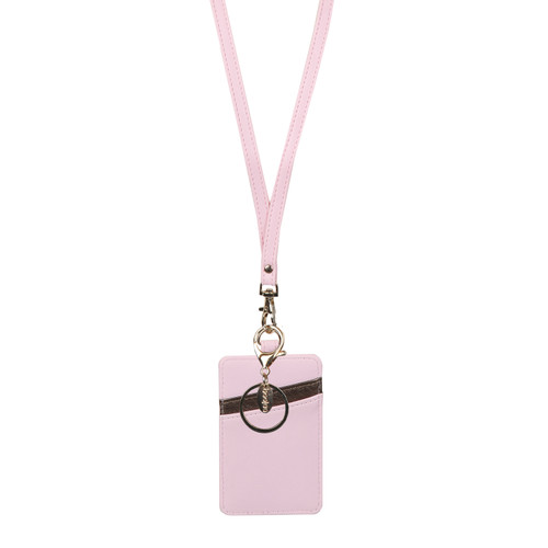Bubblegum ID Wallet Lanyard in pink with bronze accents