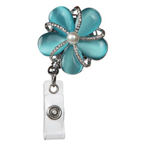 Cassidy Pearl Blue Flower Fashion Badge Reel with Rhinestones