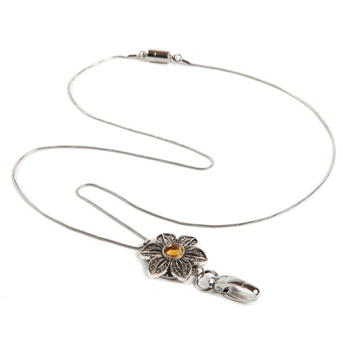 Topaz Bloom Floral ID Necklace Lanyard with silver chain