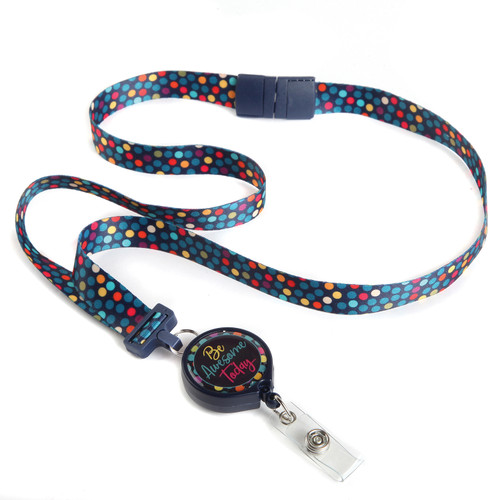 Be Awesome Today Polka Dot Ribbon Lanyard with Badge Reel