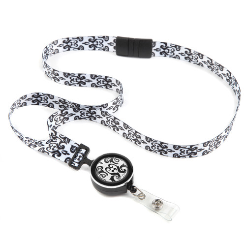 Imperial Black and White Patterned Ribbon Lanyard with Retractable Badge Reel