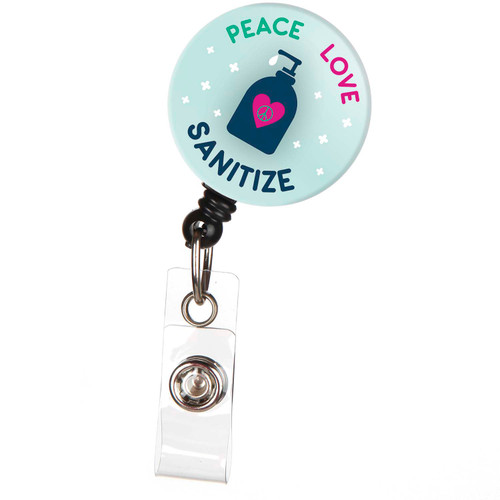 "ID Avenue ""Peace Love Sanitize"" Retractable ID Button Badge Reel"