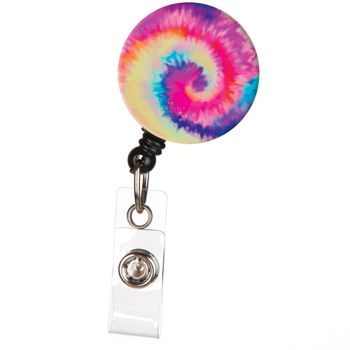 Rainbow Tie Dye Retractable ID Badge Reel