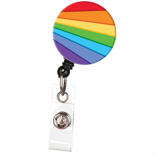 ID Avenue Rainbow Ripple Retractable ID Badge Reel LGBT Pride Flag