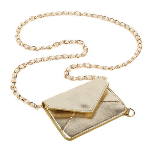 Metallic Gold Envelope ID Holder with Lanyard
