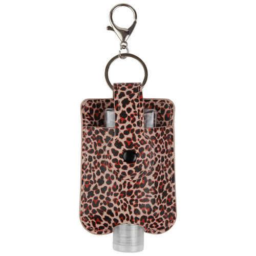 Leopard Print Travel Hand Sanitizer Holder with convenient hook
