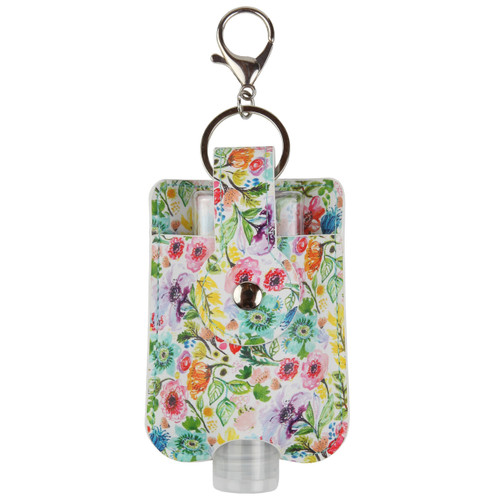 Pleasant Grove Floral Travel Hand Sanitizer Holder with keyring and hook