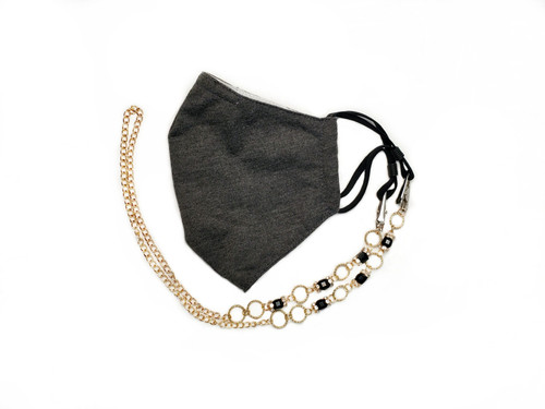 Cosmopolitan Gold chain and beaded face mask lanyard
